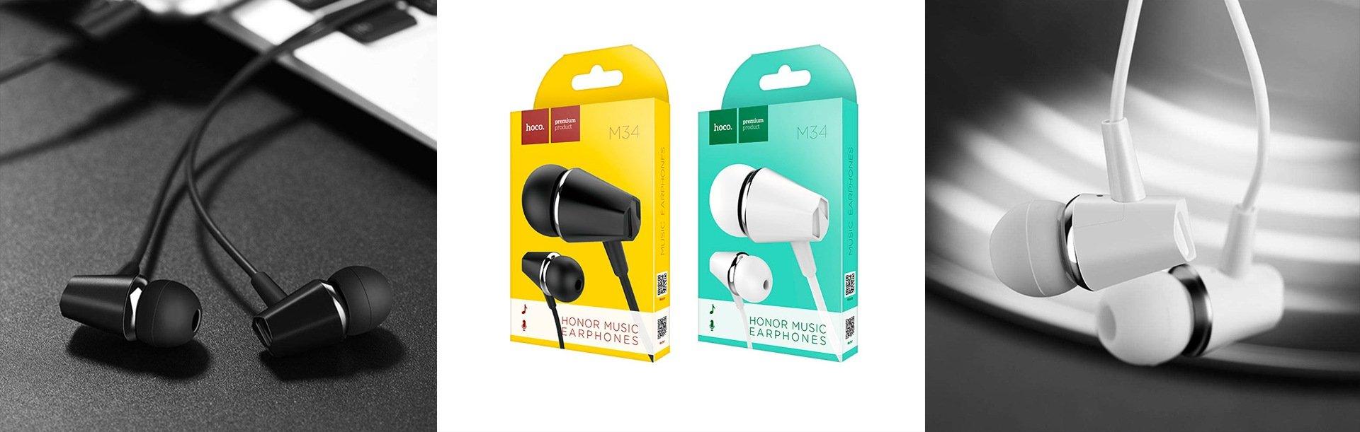 Вакуумные наушники Hoco M34 с микрофоном White   Белые