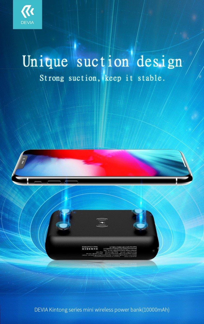 Внешний аккумулятор с беспроводной зарядкой Devia Kintone Series Mini Wireless Power bank на 10 000 mAh White | Белый